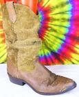 9-9.5 vtg 80s brown leather suede & moc croc ZODIAC slouch cowboy boots