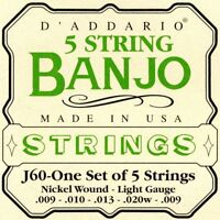 D'Addario J60 5-String Banjo Strings Light Gauge Nickel Wound MADE IN USA