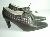 WOMENS BROWN LEATHER BOOTIES ANKLE BOOTS OXFORDS CAREER HEELS SHOES SIZE 7 M
