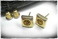 Neu OHRSTECKER mit STRASSSTEINE topaz/braun-orange OHRRINGE farbe gold STRASS