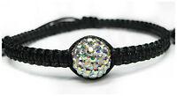 NEU 15cm-22cm ARMBAND schwarz STRASSSTEINE crystal AB MAKRAMEE Tibet DISCO BALL