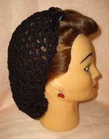 HAIR SNOOD (BLACK WITH BLACK RIBBON. HANDMADE 1940'S STYLE)