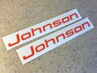 Johnson Vintage Outboard Motor Decals Orange 2-PAK FREE SHIP + FREE Fish Decal!