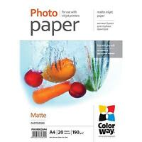 NEW! Colorway Matte A4 190Gms Photo Paper 20 Sheets