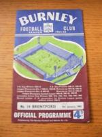 09/01/1965 Burnley v Brentford [FA Cup] (Team Changes, Score Noted On Front). No