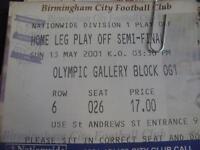 13/05/2001 Ticket: Play-Off Semi-Final Division 1 - Birmingham City v Preston No
