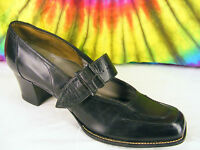 size 6 vintage 30's black leather HUG-TITE square-toe mary-jane pumps shoes NOS