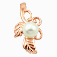 Natural White Pearl 925 Sterling Silver 14k Rose Gold Pendant Jewelry A83698