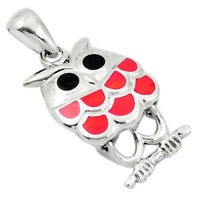 Red Coral Onyx Enamel 925 Sterling Silver Owl Pendant Jewelry A83543