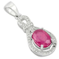 5.19cts Natural Red Ruby Topaz 925 Sterling Silver Pendant Jewelry A84147