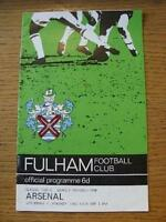 01/01/1966 Fulham v Arsenal  (Team Changes). Item In very good condition unless