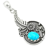 Blue Copper Turquoise 925 Sterling Silver Pendant Jewelry M50903