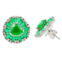 Natural Green Chalcedony Topaz 925 Sterling Silver Stud Earrings A84362