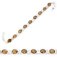 april sale brown smoky topaz 925 sterling silver tennis bracelet jewelry m54825