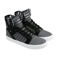 Supra Skytop Mens Black Gray Canvas High Top Lace Up Sneakers Shoes