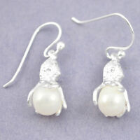925 Sterling Silver Natural White Pearl Dangle Earrings Jewelry A85084
