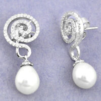 Natural White Pearl Topaz 925 Sterling Silver Dangle Earrings A84882