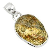 Natural Brown Picture Jasper 925 Sterling Silver Skull Pendant M55386
