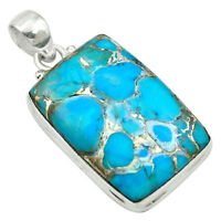 Blue Copper Turquoise 925 Sterling Silver Pendant Jewelry M57833