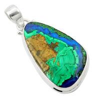 Natural Green Azurite Malachite 925 Sterling Silver Pendant M58707