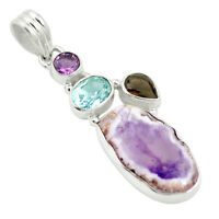 Natural Purple Opal Amethyst 925 Sterling Silver Pendant Jewelry M57445