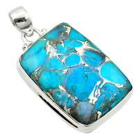 Blue Copper Turquoise 925 Sterling Silver Pendant Jewelry M57834