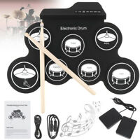Electronic Drum Digital USB 7Pad Roll up Drum Set Silicone Electric Drum Pad Kit