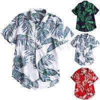 MENS HAWAIIAN SHIRT STAG BEACH HOLIDAY FANCY DRESS SUMMER CAUSAL T SHIRT TOPS UK
