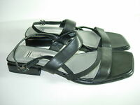 WOMENS BLACK LEATHER SLINGBACK COMFORT SANDALS CAREER FLATS SHOES SIZE 7.5 M