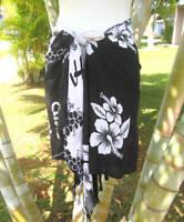 Hawaiian Beach Pool Sarong Short Black Hibscus Pareo Luau Cruise Wrap Skirt