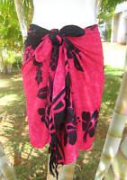 Sarong Pareo Short Pink Black Hibiscus Luau Cruise Beach Swimwear Wrap Skirt