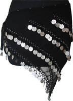 Belly Dance Hip Scarf Coin Wrap Belt Black/Silver 4Line