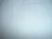 Coupon 70X50 cm de tissu 100% COTON BLEU CIEL pois blancs 1,5mm