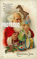 Vintage Christmas Fabric Block Santa Claus Toy Shop