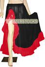 TMS Black/Red Ruffle Slit Full Circle Skirt Belly Dance