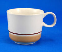 Hearthside Water Colors BLUSH Flat Cup Only 3 in. Tan Brown Bands Stoneware