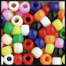 """200 Opaque Multi Colored Pony Beads The Beadery Made in USA 3/8"""" 9mm ABCraft"""