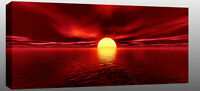 """X Large Red Sunset Sea Canvas Wall Art Picture 44""""x20"""" ready 2 hang chunky frame"""