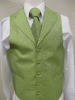Men's Suit Tuxedo Dress Vest Necktie Bowtie Hanky Set Lime Green Paisley Design
