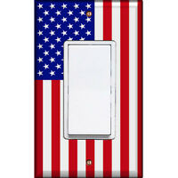 American Flag - Single Decorated Light Switch Cover - Rocker Decora - RS-01