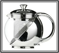 MODREN STAINLESS STEEL GLASS TEAPOT TEA POT WITH TEA LEAF INFUSER 500ml & 700ml
