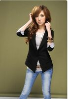 New Women 3/4 Sleeve One Button Lapel Casual Suits Blazer Jacket Outerwear Black