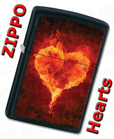 Zippo Flaming Hearts Black Matte Windproof Lighter 28313 **NEW**