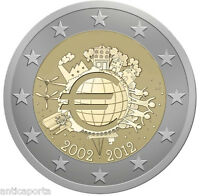 MONETA 2 EURO ITALIA 2012 UME UNIONE MONETARIA EUROPEA DECENNALE ITALY  RARA