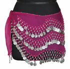 BELLY DANCING Hip Scarf Costume Opera Skirt Wrap Belt Bra Pink Silver Coins L-3