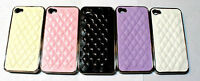 New Deluxe Leather Chrome Back Case Cover Skin for Apple iPhone 4S 4 4G