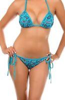 Sexy Women 2 Piece BLU Floral Triangle String Top and Tie Side Brazilian Bikini