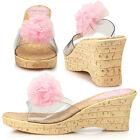 New Womens Flower Comfort High Heels Slides Platform Shoes Sandals Pink