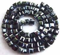 "6mm black shine glass Quartz Cube Faceted 100 Beads """