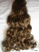 "17-19"" Clip in Hair Extensions Curly Wavy Light Brown #12L Full Head 8PC £11.99"